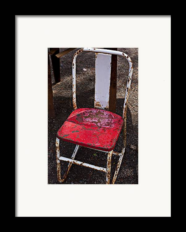 Chair Framed Print featuring the photograph Rusty Metal Chair by Garry Gay