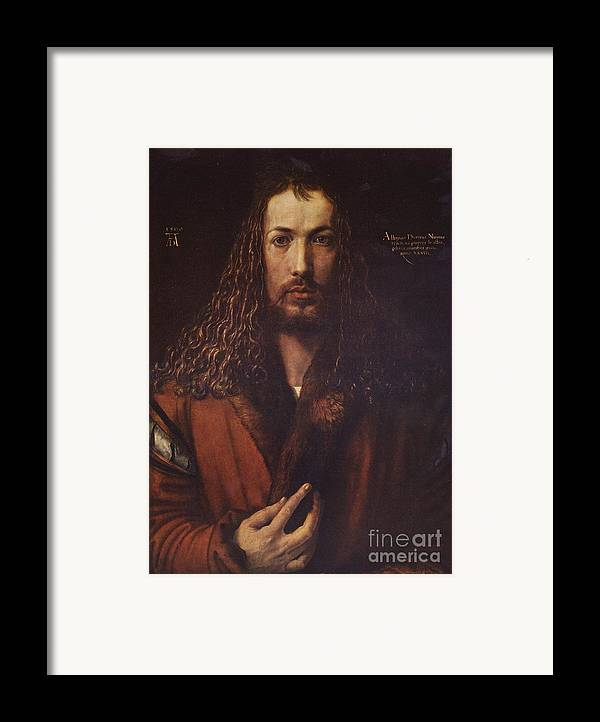 Pd Framed Print featuring the painting Self Portrait Durer by Pg Reproductions