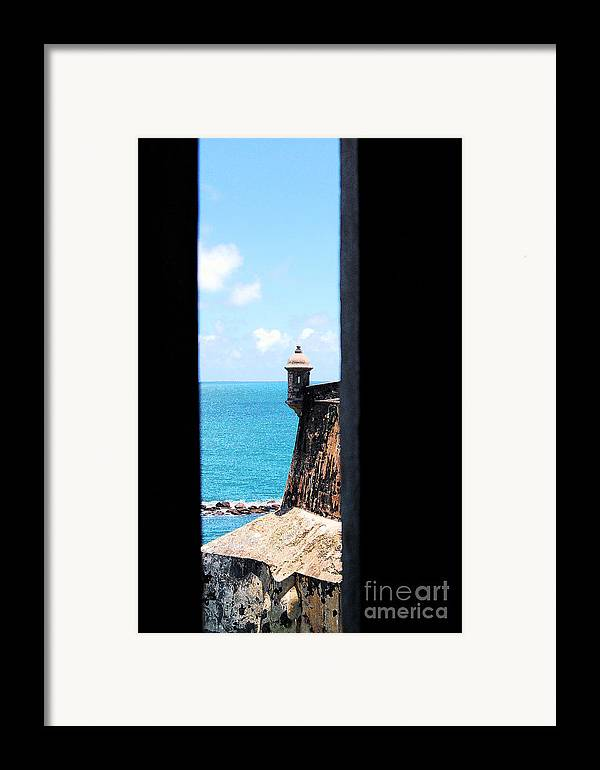 El Morro Framed Print featuring the digital art Sentry Tower View Castillo San Felipe Del Morro San Juan Puerto Rico Ink Outlines by Shawn O'Brien