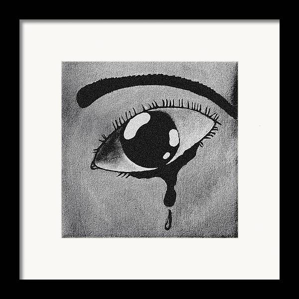 Eye Framed Print featuring the painting Separation In Blackand White by Darren Stein