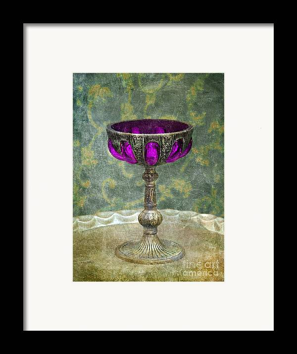 Goblet Framed Print featuring the photograph Silver Chalice With Jewels by Jill Battaglia