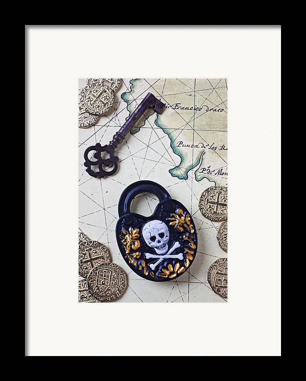 Lock Framed Print featuring the photograph Skull And Cross Bones Lock by Garry Gay