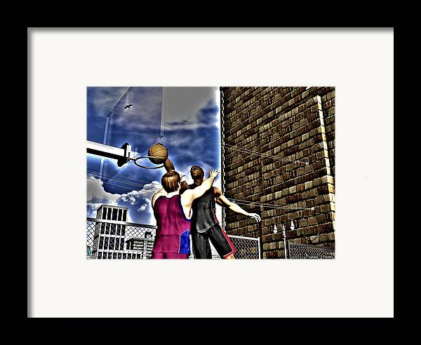 Basketball Framed Print featuring the digital art Slammed by Michael Stowers