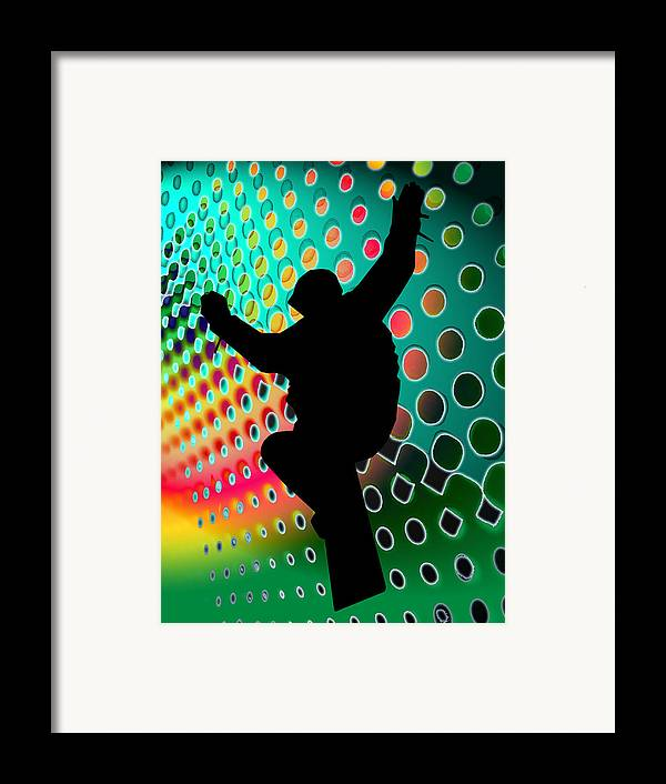 Snowboard Framed Print featuring the painting Snowboard In Cosmic Snowstorm by Elaine Plesser