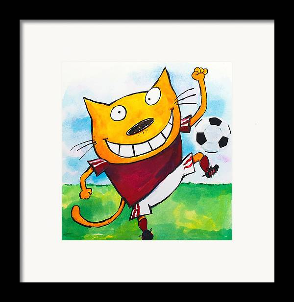 Cat Framed Print featuring the painting Soccer Cat 2 by Scott Nelson