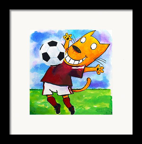 Cat Framed Print featuring the painting Soccer Cat 3 by Scott Nelson
