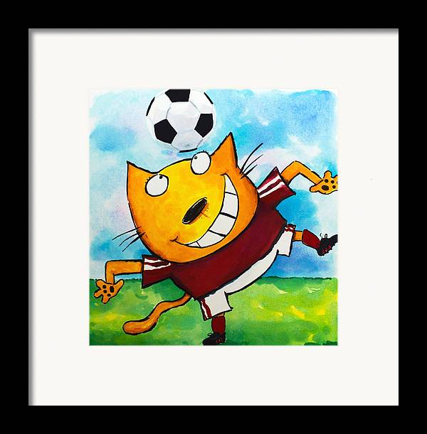Cat Framed Print featuring the painting Soccer Cat 4 by Scott Nelson
