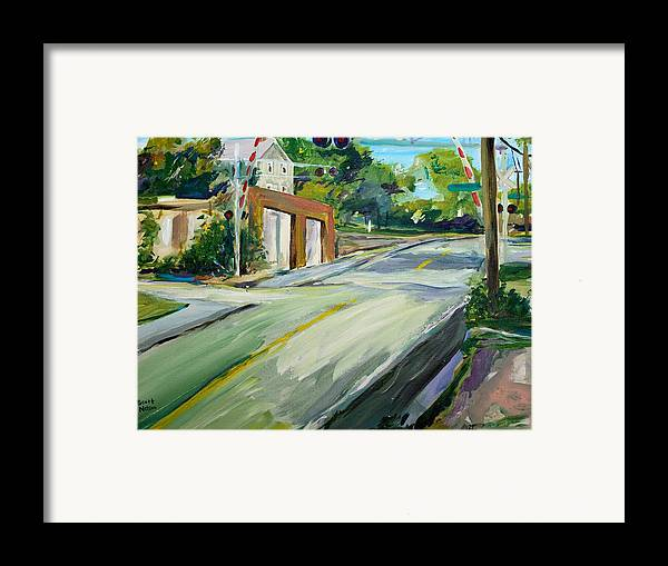Millbury Framed Print featuring the painting South Main Street Train Crossing by Scott Nelson