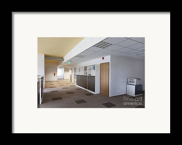 Architectural Detail Framed Print featuring the photograph Spacious Office Hallway by Jaak Nilson