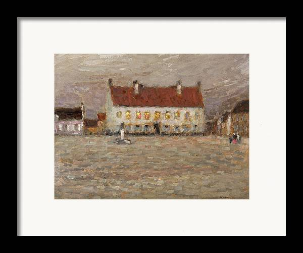 A Place; Gravelines; North France; Nord-pas-de-calais; Nord Pas De Calais; Huile Sur Panneau;landscape; Post-impressionist; Neo-impressionist; Impressionist; House; Red; View; Study; Architecture; French; France Framed Print featuring the painting Square - Fort-philippe by Henri Eugene Augustin Le Sidaner