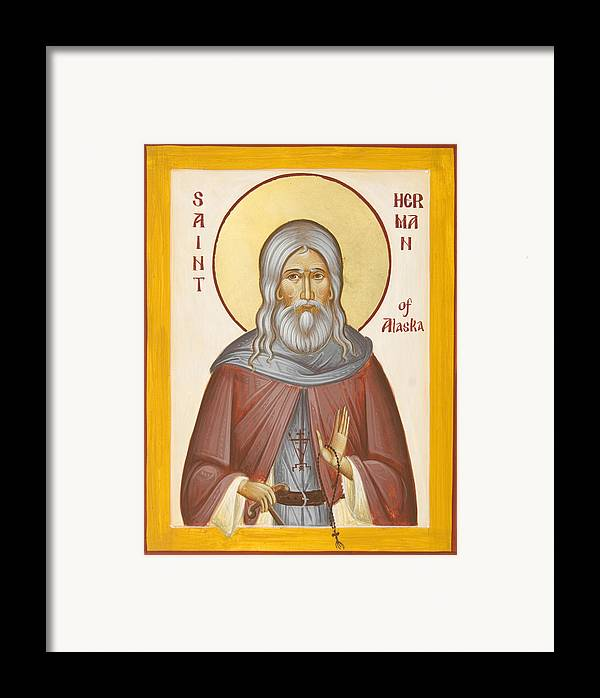 St Herman Of Alaska Framed Print featuring the painting St Herman Of Alaska by Julia Bridget Hayes