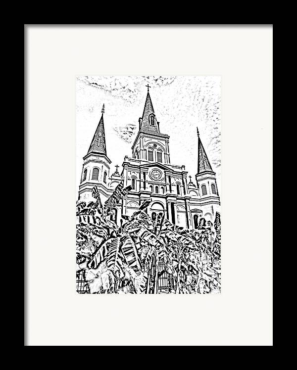 New Orleans Framed Print featuring the digital art St Louis Cathedral Rising Above Palms Jackson Square New Orleans Photocopy Digital Art by Shawn O'Brien