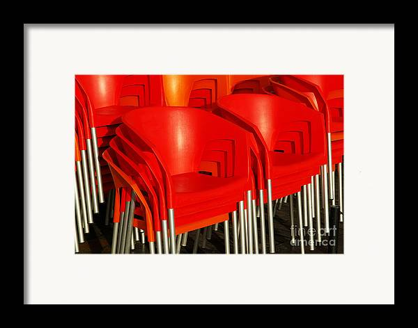 Bar Framed Print featuring the photograph Stacked Chairs by Carlos Caetano