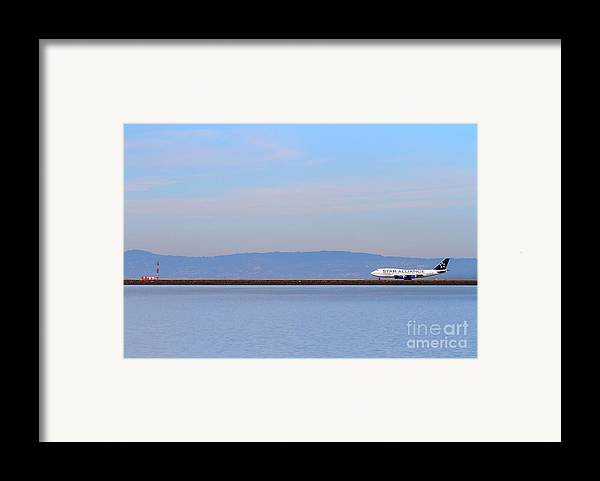Airplane Framed Print featuring the photograph Star Alliance Airlines Jet Airplane At San Francisco International Airport Sfo . 7d12208 by Wingsdomain Art and Photography