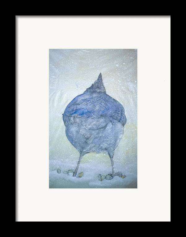 Painting Framed Print featuring the painting Stellar Jay From Back by Debbi Chan