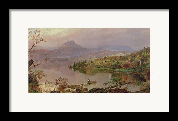 American Landscape; Boat; Mountain; Franklin County; West-central Maine; Spring; Rugged; Solitary; Hudson River School;sugarloaf From Wickham Lake Framed Print featuring the painting Sugarloaf From Wickham Lake by Jasper Francis Cropsey