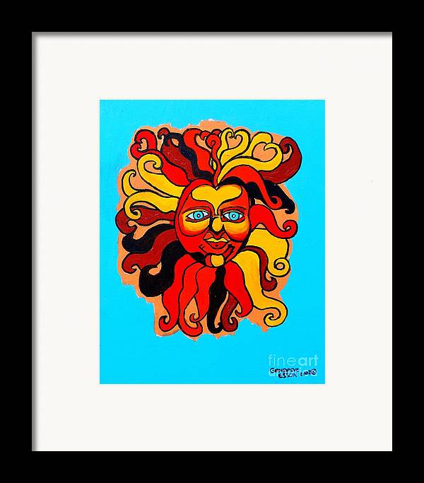 Sun Framed Print featuring the painting Sun God II by Genevieve Esson