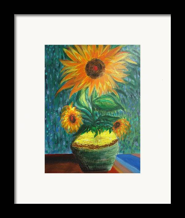 Vase Framed Print featuring the painting Sunflower In A Vase by Prasenjit Dhar