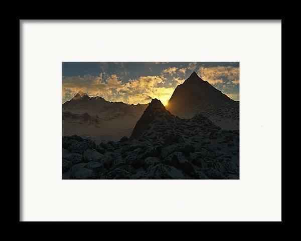 Hakon Framed Print featuring the digital art Sunset In The Stony Mountains by Hakon Soreide