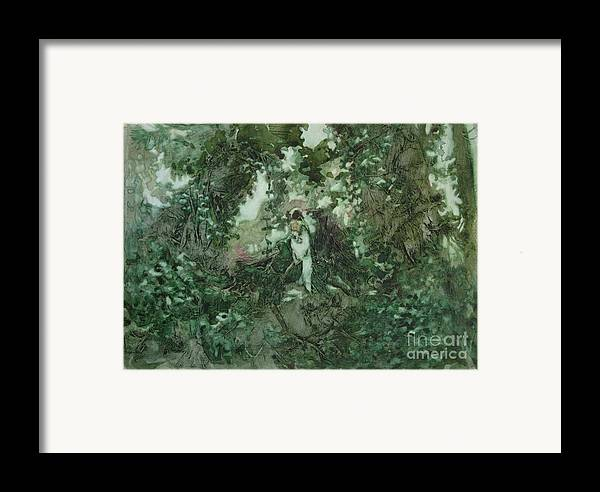 Kudzu Framed Print featuring the painting Surprised Bather by Elizabeth Carr
