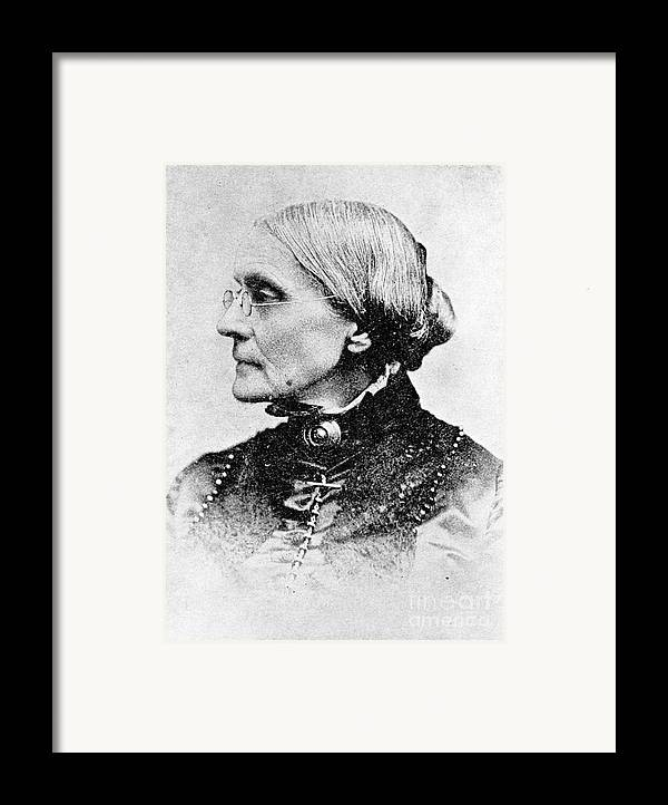 History Framed Print featuring the photograph Susan B. Anthony, American Civil Rights by Photo Researchers, Inc.