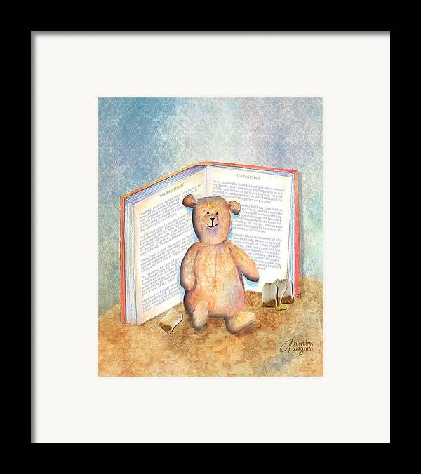 Teddy Bear Framed Print featuring the mixed media Tea Bag Teddy by Arline Wagner