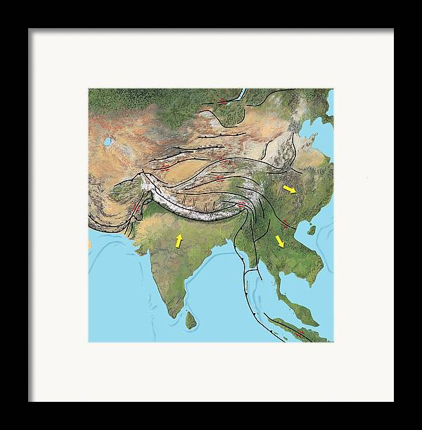 Asia Framed Print featuring the photograph Tectonic Map Of Asia by Gary Hincks