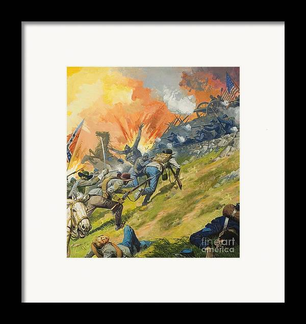 Battle Of Gettysburg Framed Print featuring the painting The Battle Of Gettysburg by Severino Baraldi