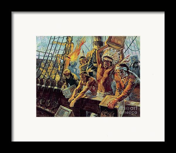 The Boston Tea Party; Dressed Up; Red Indians; Tea; Duties; American War Of Independence; Rebellion; Americans; Night; Head Dress; Red Indians; American Native Indians Framed Print featuring the painting The Boston Tea Party by Luis Arcas Brauner