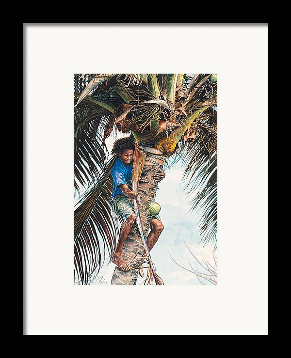 Tree Framed Print featuring the painting The Coconut Tree by Gregory Jules
