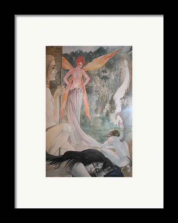 Fairies Demons Dreams Sleep  Framed Print featuring the drawing The Exile by Jackie Rock