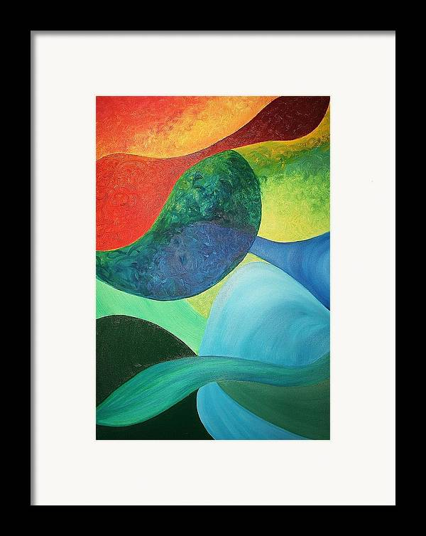 Four Framed Print featuring the painting The Four Elements by Derya Aktas