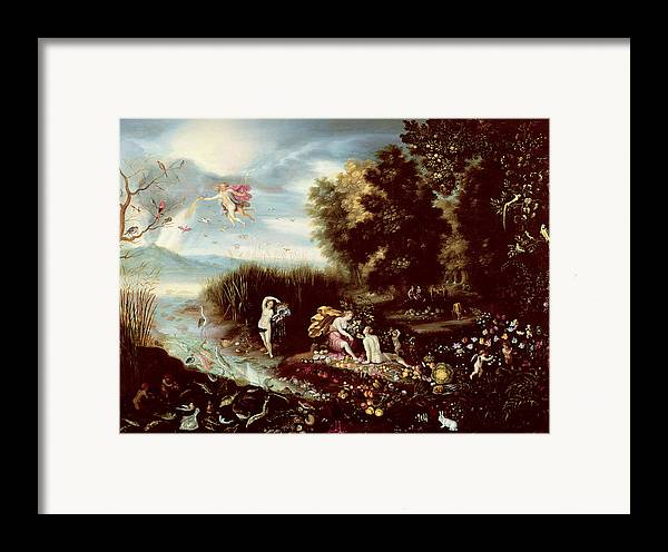The Framed Print featuring the painting The Four Elements by Flemish School
