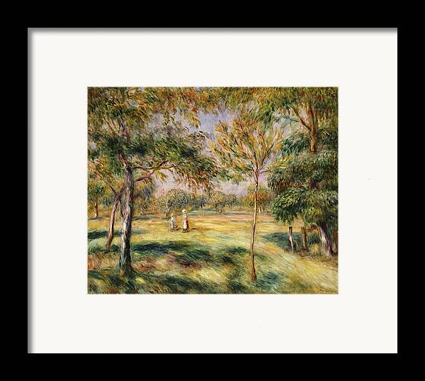 Impressionist; Impressionism; Countryside; Landscape; Tree Framed Print featuring the painting The Glade by Pierre Auguste Renoir
