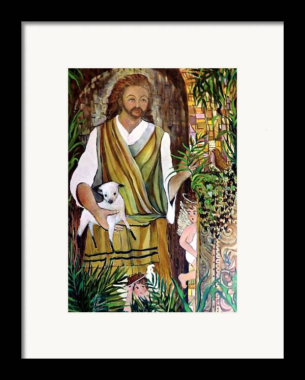 Jesus Framed Print featuring the painting The Good Shephard At The Door by Mindy Newman