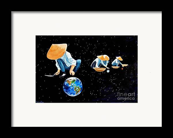 Earth Framed Print featuring the painting The Grass Is Always Greener On The Other Side Of Uranus by Pauline Ross