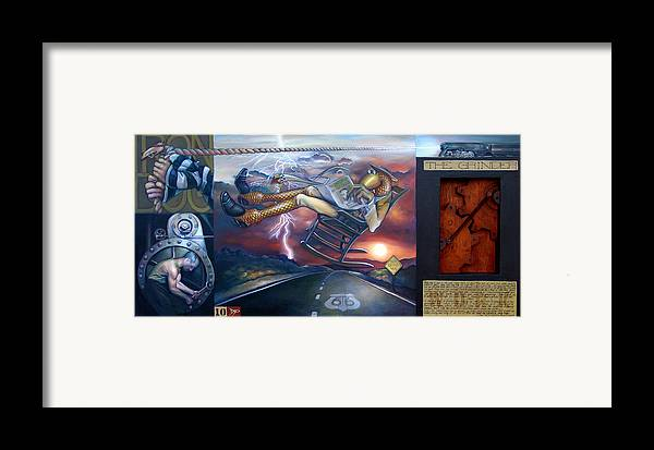 Gear Framed Print featuring the painting The Grinder by Patrick Anthony Pierson