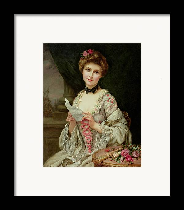 Billet Doux; Female; Seated; Sitting; Roses; Fan; Black Bow; Wistful; Pretty; Costume; Dress; Beauty; Jewellery; Jewelry; In Love; Valentine; Beauty Framed Print featuring the painting The Love Letter by Francois Martin-Kayel