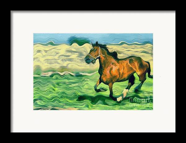 Odon Framed Print featuring the painting The Running Horse by Odon Czintos