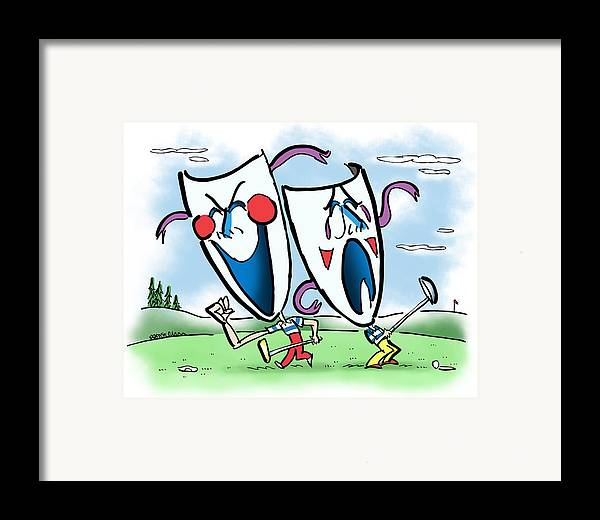 Golf Framed Print featuring the digital art The Two Faces Of Golf by Mark Armstrong