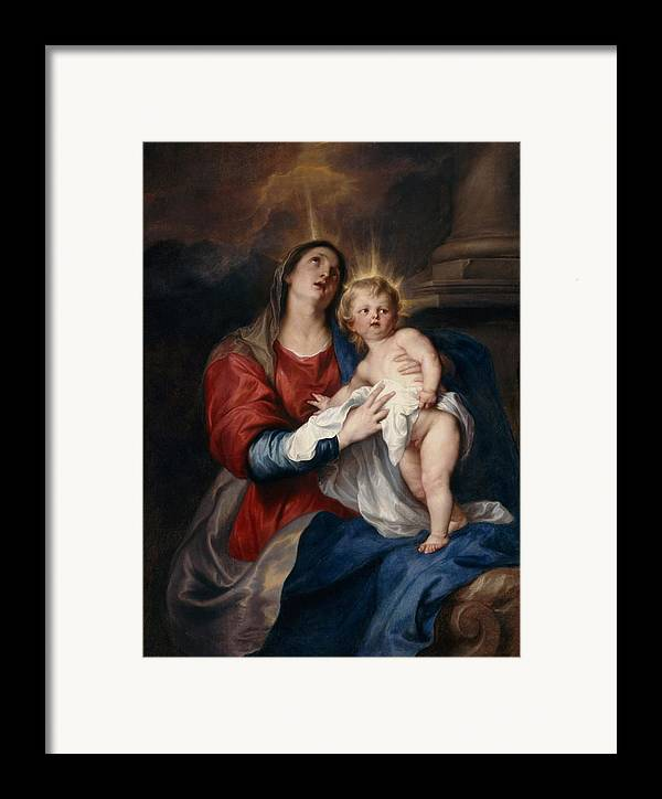 Jesus Framed Print featuring the painting The Virgin And Child by Sir Anthony Van Dyck