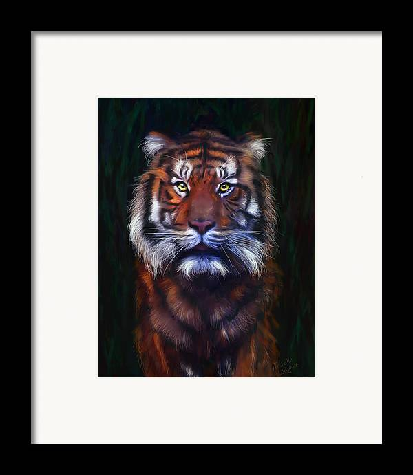 Tigers Framed Print featuring the painting Tiger Tiger by Michelle Wrighton