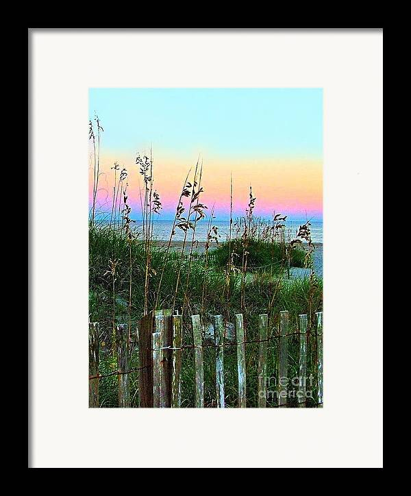 Topsail Island Framed Print featuring the photograph Topsail Island Dunes And Sand Fence by Julie Dant