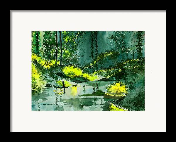 Nature Framed Print featuring the painting Tranquil 1 by Anil Nene
