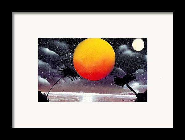 Landscape Framed Print featuring the painting Tropical Sunset by Marc Chambers