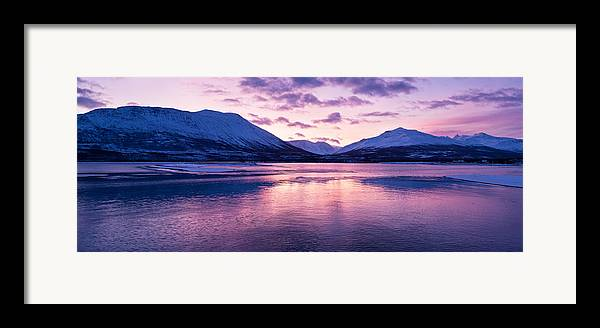 Beautiful Framed Print featuring the photograph Twilight Above A Fjord In Norway With Beautifully Colors by Ulrich Schade