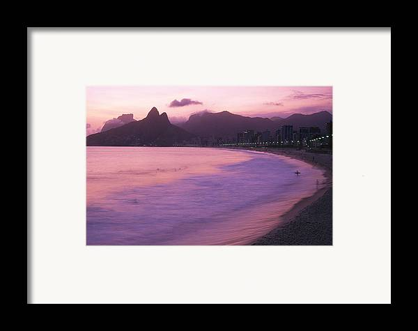 South America Framed Print featuring the photograph Twilight View Of Ipanema Beach And Two by Michael Melford