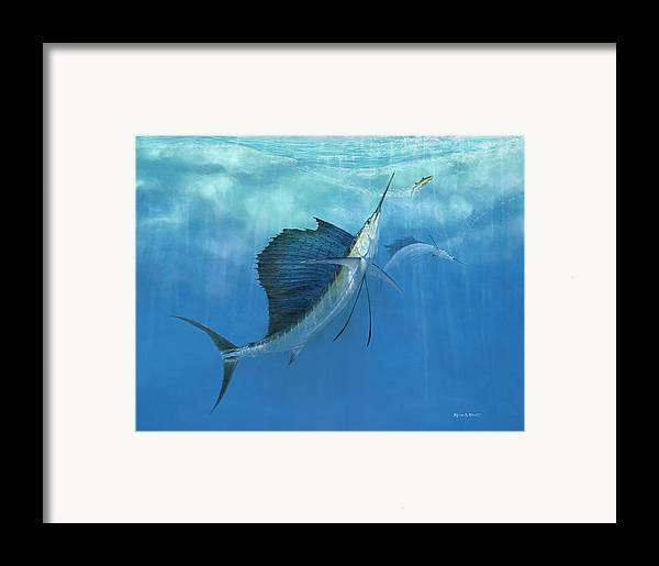 Kevin Brant Framed Print featuring the painting Two Of A Kind Sailfish by Kevin Brant