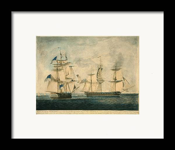 History Framed Print featuring the photograph Uss Chesapeake Vs. Hms Shannon by Everett