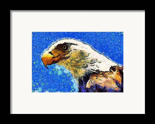 Usa Framed Print featuring the photograph Van Gogh.s American Eagle Under A Starry Night . 40d6715 by Wingsdomain Art and Photography